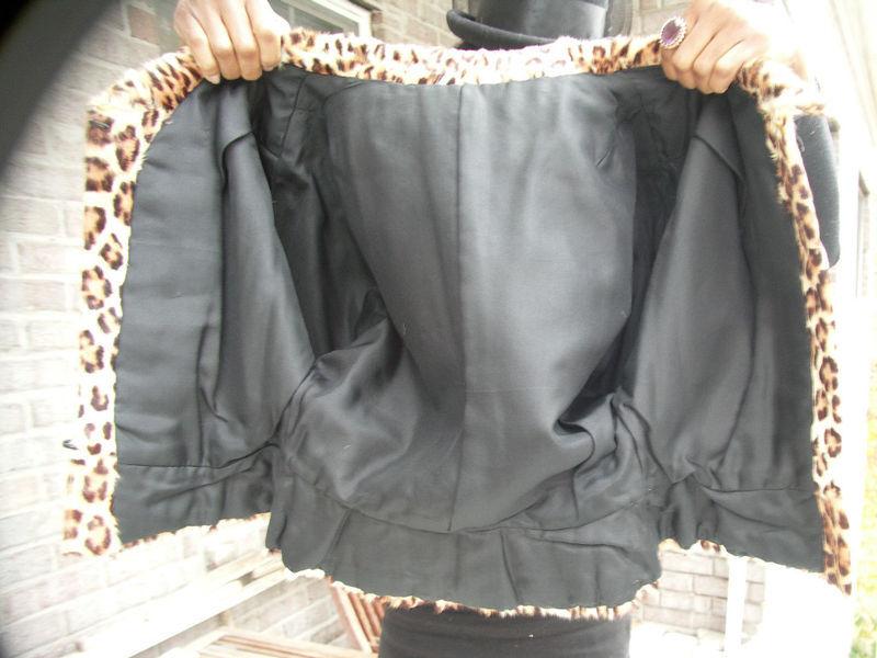 Rare Vintage Custom hand painted leopard print fur jacket Coat bolero Xs-4/6