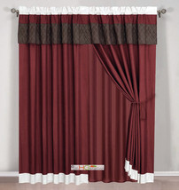4Pc Quilted Diamond Striped Curtain Set Burgundy Brown Beige Valance Drape Liner - $40.89