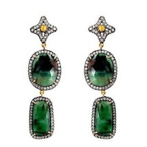 Emerald Gemstone Dangle Earrings 14k Gold Pave 3.26ct Diamond 925 Silver Jewelry - $1,140.03