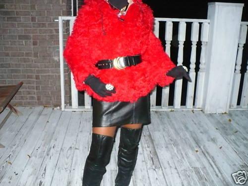 Rare hooded Red Shearling curly lamb Fur Coat jacket S