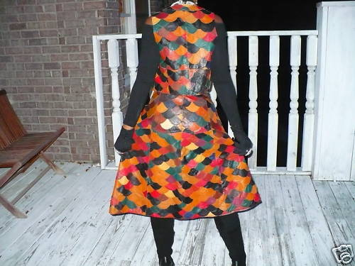 Rare multi checkerboard leather Vest & Skirt set S-M