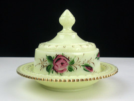 Heisey Ring Band Custard Covered Butter Dish Roses Gold, Antique Ivorina Verde - $74.43