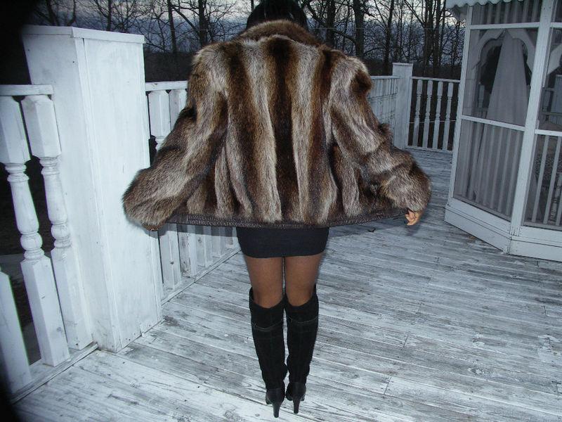 Reversible Full pelt Raccoon Fur Jacket Coat Bolero S