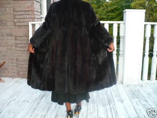 Saks 5th Ave Revillon Full length Dk Mink fur Coat S-M