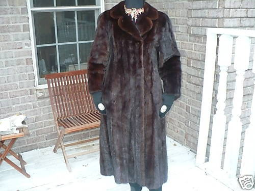 Swing Full Length brown Female Pelt Mink Fur coat jacket stroller  S-M 4-12