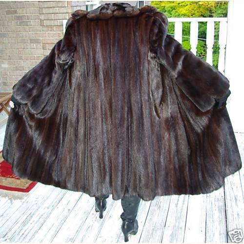 Swing style Full length Brown Mink Fur Coat Jacket S-M