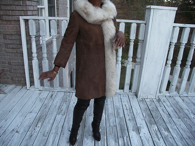 Unique Brown Suede & fox fur Dress Coat Jacket S-M