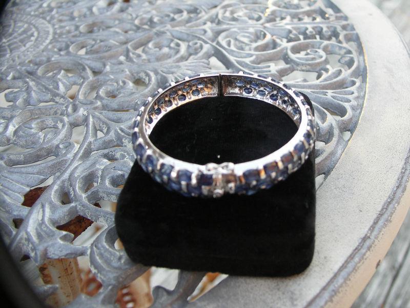 New Unique Custom made genuine silver and ovr 35+ carat Sapphire bangle bracelet
