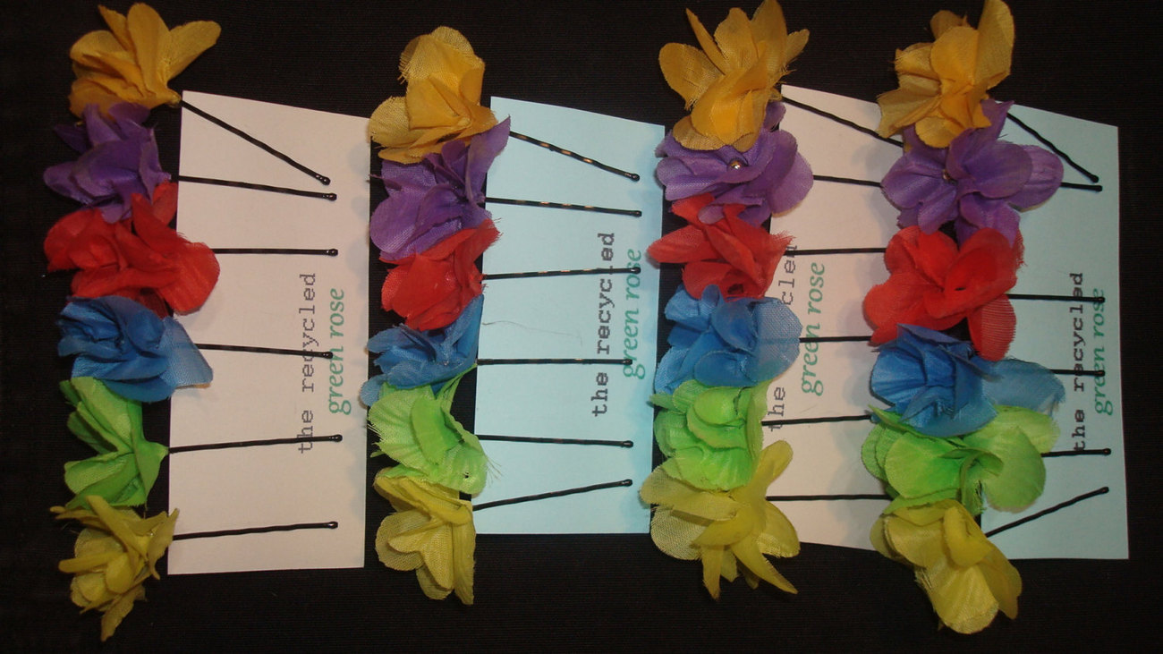 Rainbow Flower Hair Accessories - Bobby Pins - Upcycled Cloth