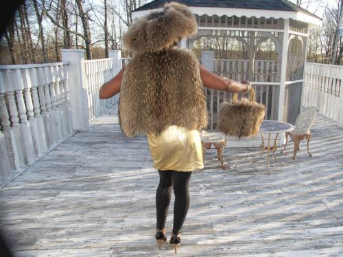 Unique Finnish Raccoon Fur Vest Coat Jacket S + Bag