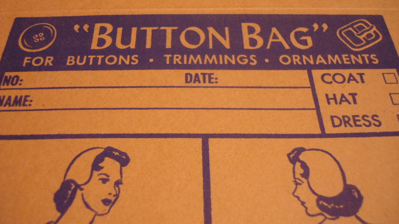Vintage Button Bag - Commercial Sewing - 1970's - Lot of Five