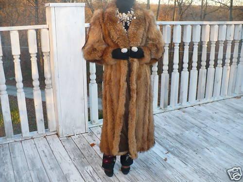 Unique Full length Finnish Raccoon Fur Coat Jacket S-M