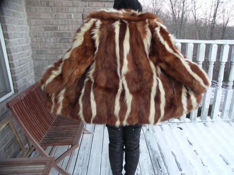 Unique Genuine Brown white skunk Fur Coat Jacket S-M