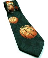 Basketball On Fire Flames Through Hoops Sports Novelty Necktie - $12.67