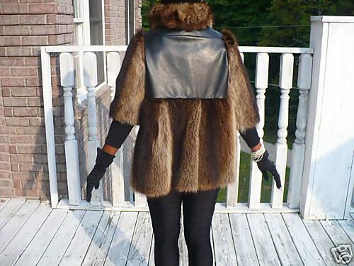 Unique custom designer Swing Raccoon Fur coat Jacket + leather S-M 0-6/8
