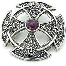 Sol d'or Soldor Silver Toned Brooch Pin Celtic Scottish Purple Stone 1.5... - $14.85
