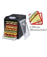 OPEN BOX Samson Silent 9 Stainless Steel Tray Dehydrator w/9 Silicone Sh... - $134.95