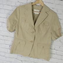 Banana Republic Veste Blazer Femmes Taille 10 Foncé Lin & Soie Safari - $19.40