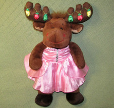 "Build A Bear HAL the Moose LIGHT UP ANTLERS Pink DRESS Gown 18"" Plush St... - $16.83"