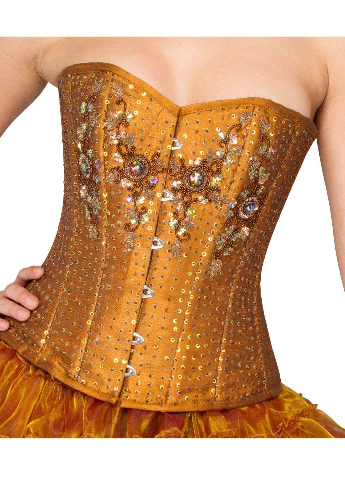 Golden Cotton Silk Handmade Sequins Gothic Burlesque Bustier Overbust Corset Top