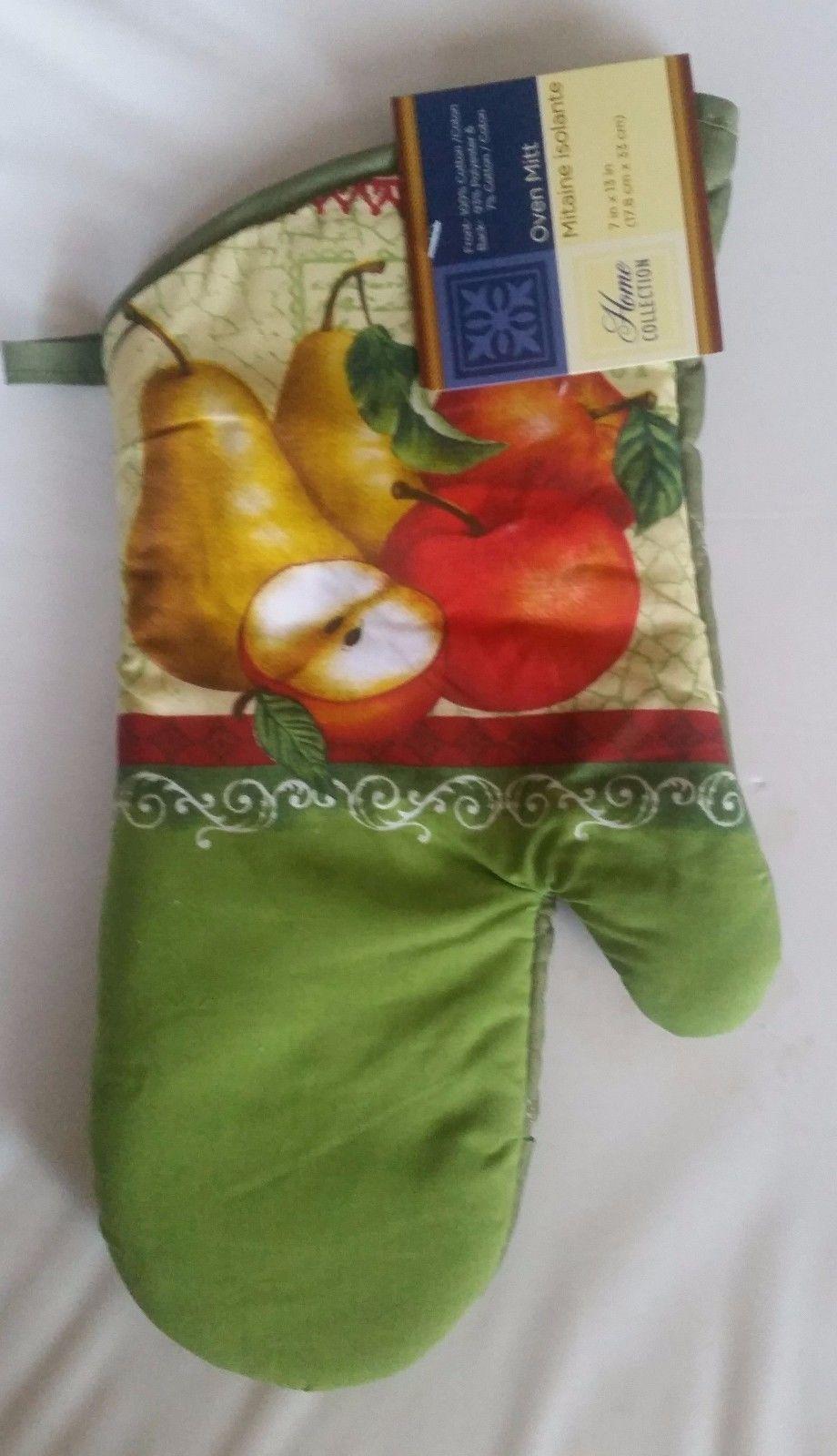 "Fabric Printed Kitchen 13"" Jumbo Oven Mitt, FRUITS, PEARS & APPLES - $7.91"