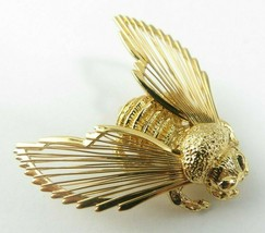 Vintage Retro BROOCH PIN MONET Wire Wing Bee Bug  Gold Tone Marked - $15.00