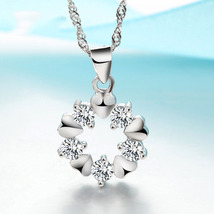 Sterling Silver Necklace Crystal Flower Pendant - $22.19