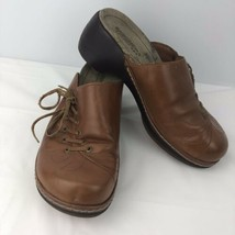Skechers Brown Tan Leather Size 8 Laced Wedge Slide Clogs 45460 Shoes - $28.70
