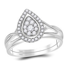 10kt White Gold Diamond Teardrop Cluster Bridal Wedding Engagement Ring Set - £328.37 GBP