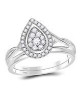 10kt White Gold Diamond Teardrop Cluster Bridal Wedding Engagement Ring Set - $10.266,73 MXN