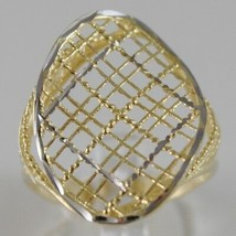 SOLID 18K WHITE & YELLOW GOLD BAND RING OVAL WAVE FINELY WORKED MADE IN ITALY image 1