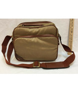 Padded Camera Bag Carrying Case Brown Canvas Shoulder Strap 11x9 3 Pockets - $14.10