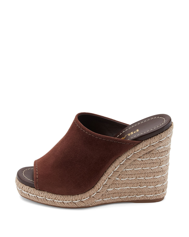 9d95e4c19766 Prada Suede Wedge Espadrille Mule Sandals MSRP   595.00 Size 40