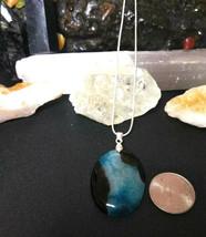 Natural Healing Blue Druzy Quartz Pendant Necklace 925 Sliver Chain BValentines  image 2