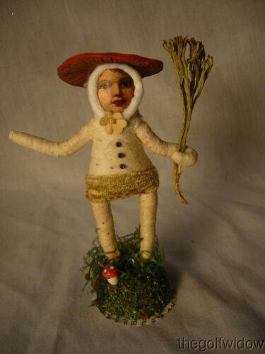 Vintage Inspired Spun Cotton Holiday Ornament Mushroom Person no.E 41 Short Hat