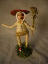 Vintage Inspired Spun Cotton Holiday Ornament Mushroom Person no.E 41 Short Hat image 1