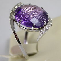 18K WHITE GOLD RING DIAMONDS ct0.38 AMETHYST ct11.50 AMAZING CUT, MADE IN ITALY image 3