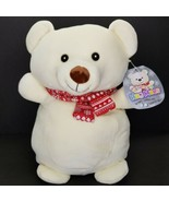 "Squishmallows 16"" Teddy Bear Hug Mees NWT WHITE Red Scarf Mags 2020 Chri... - $34.64"