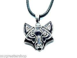 Retro Wolf Face Pendant, Symbolic Nordic Warrior Jewelry, Celtic Knot De... - $11.45
