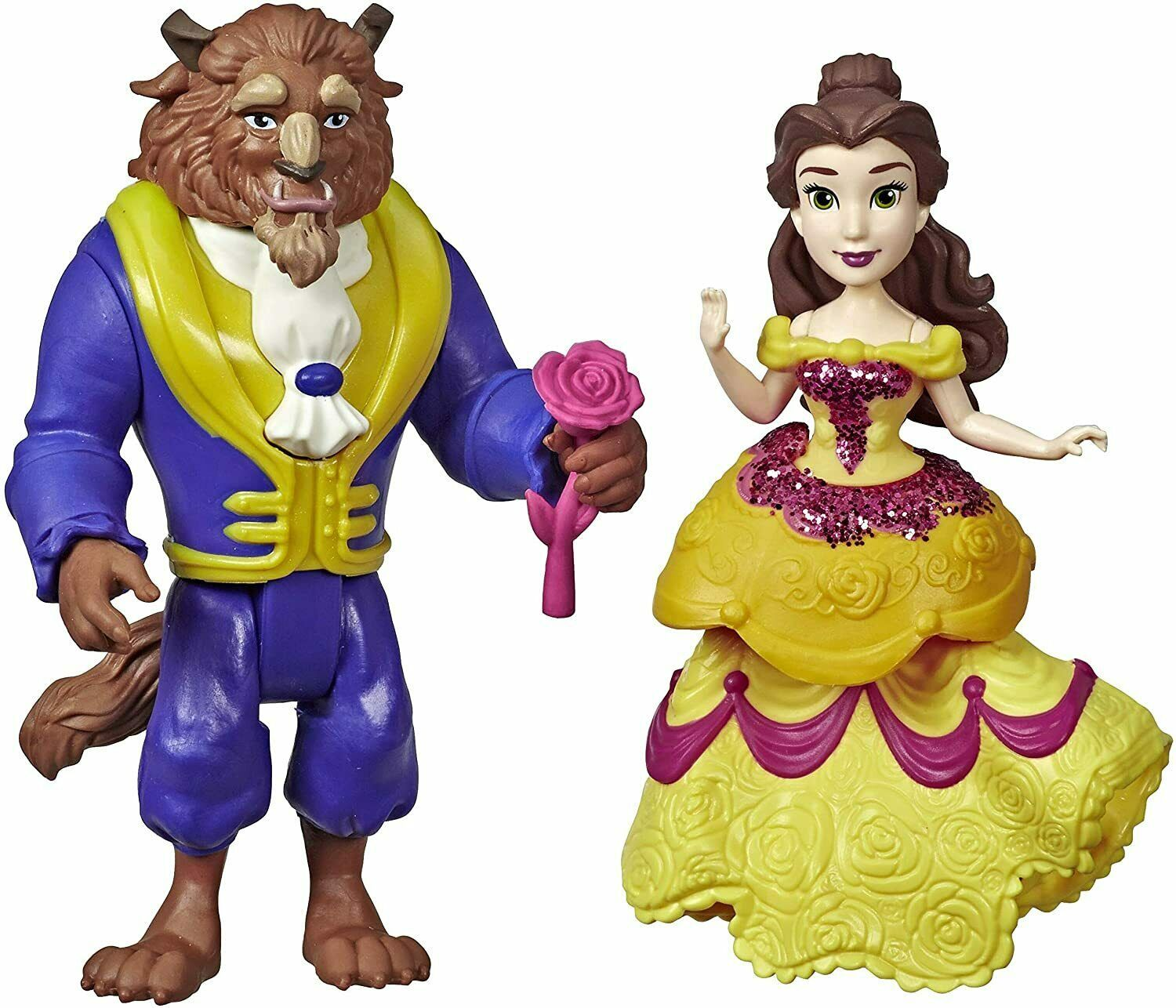 Disney Princess Belle & Beast Collectible Dolls with One-Clip Outfit & Rose Acce - $28.70