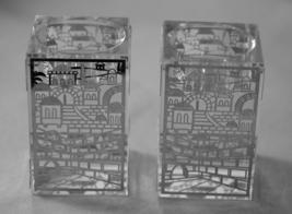 Judaica Crystal Candle Holders Candlesticks Shabbat Silver Plaque Jerusalem