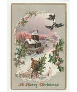 Vintage Postcard Christmas Man Carries Tree Church Sleigh Raphael Tuck - $7.91