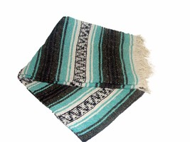 #11 Mint Teal Grey Mexican Falsa Blanket Great Beach Picnic Yoga Open Ro... - $21.17 CAD