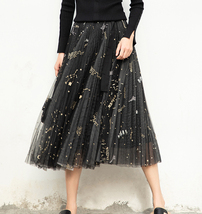 Black Pleated Long Tulle Skirt High Waisted Pleated Tulle Holiday Skirt Outfit image 2