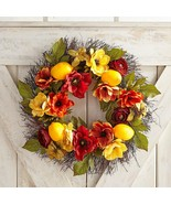 NWT PIER 1  $109 SPRING/SUMMER  LARGE FAUX LEMON FLORAL  DOOR WREATH  18... - $79.19