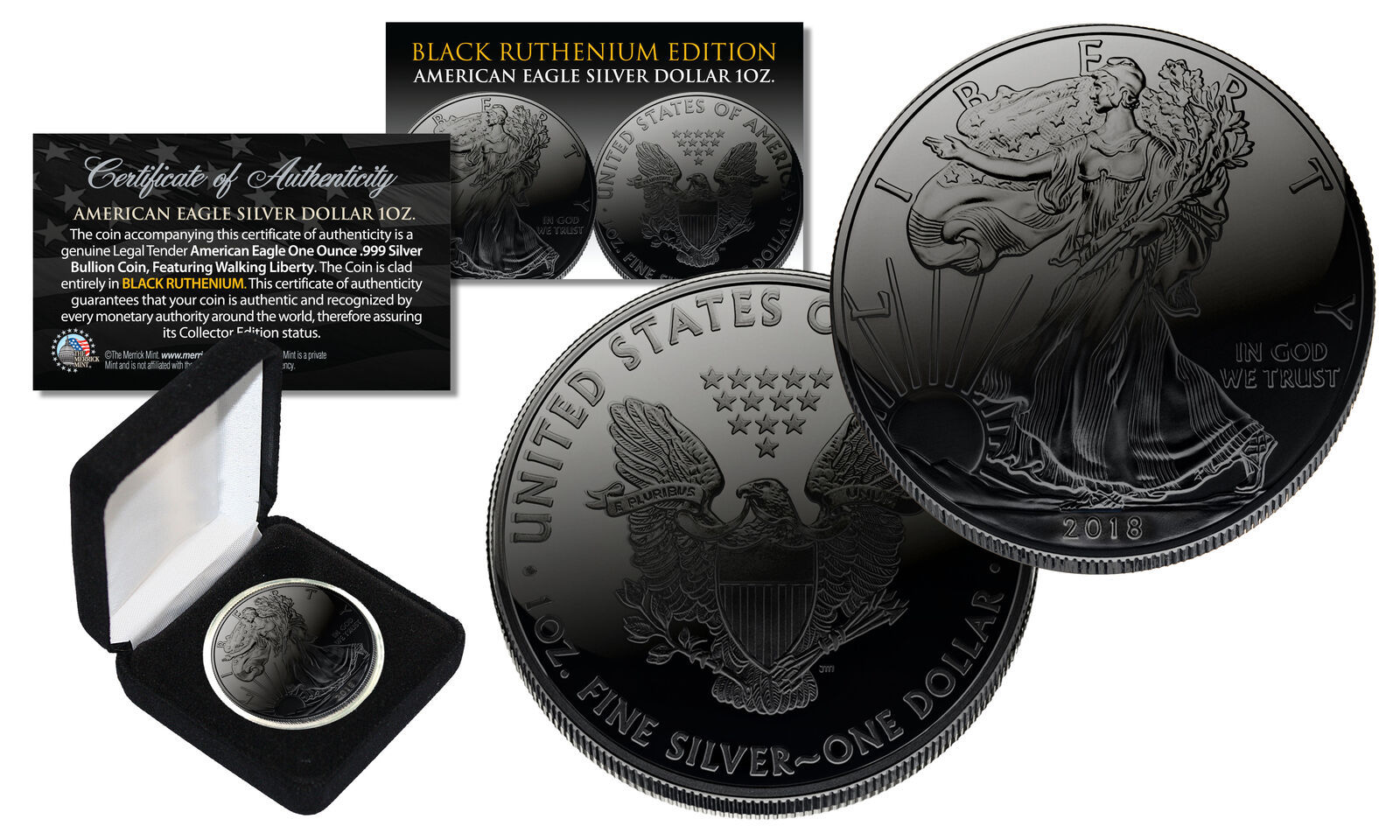 2018 BLACK RUTHENIUM 1 Troy Oz 999 Silver American Eagle Coin with Deluxe Box - $74.76