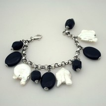 925 Silver Bracelet with Onyx Baroque Pearls - $109.84