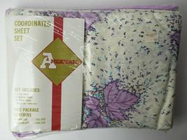 Vintage Americale Twin Coordinated Sheet Set Purple Leaf Floral - $19.80