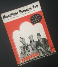 Vtg Moonlight Becomes You Sheet Music Johnny Burke Jimmy Van Heusen Coll... - $7.91