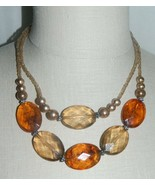 VTG Styled Faux Amber Faceted Plastic Beaded Multi Strand Choker Necklace - $19.80